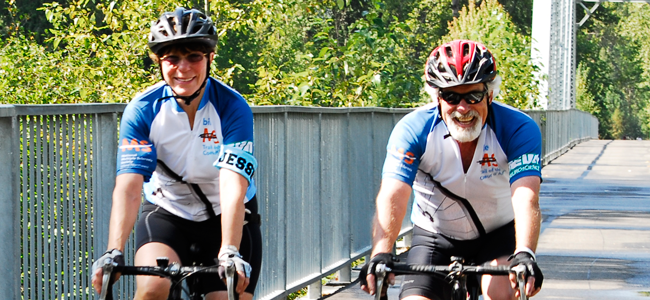 Bike MS riders on a bridge